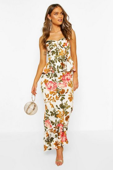 White Satin Floral Cupped Peplum Maxi Dress