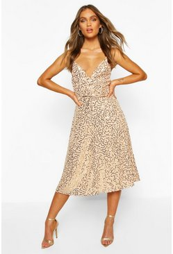 Nude Bridesmaid Occasion Sequin Detail Midi Dress