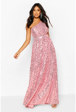 Dusky pink Bridesmaid Occasion Shoulder Sequin Maxi Dress