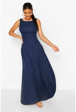 Navy Occasion Low Back Maxi Dress