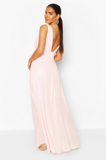 Soft pink Occasion Low Back Maxi Dress