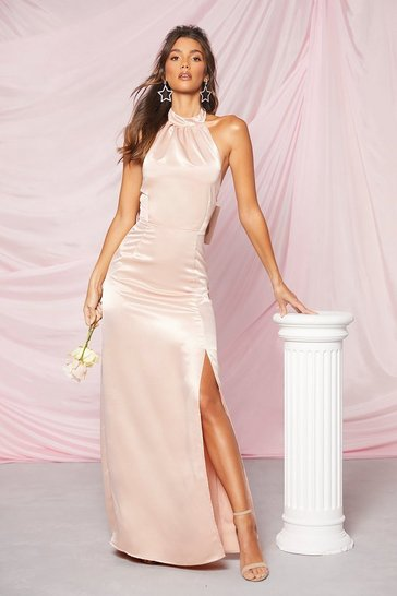 Pink Occasion Satin High Neck Bow Back Maxi Dress