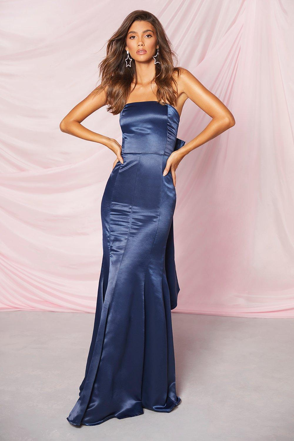 Vintage Evening Dresses and Formal Evening Gowns Womens Occasion Satin Bow Back Maxi Dress - Navy - 14 $18.00 AT vintagedancer.com