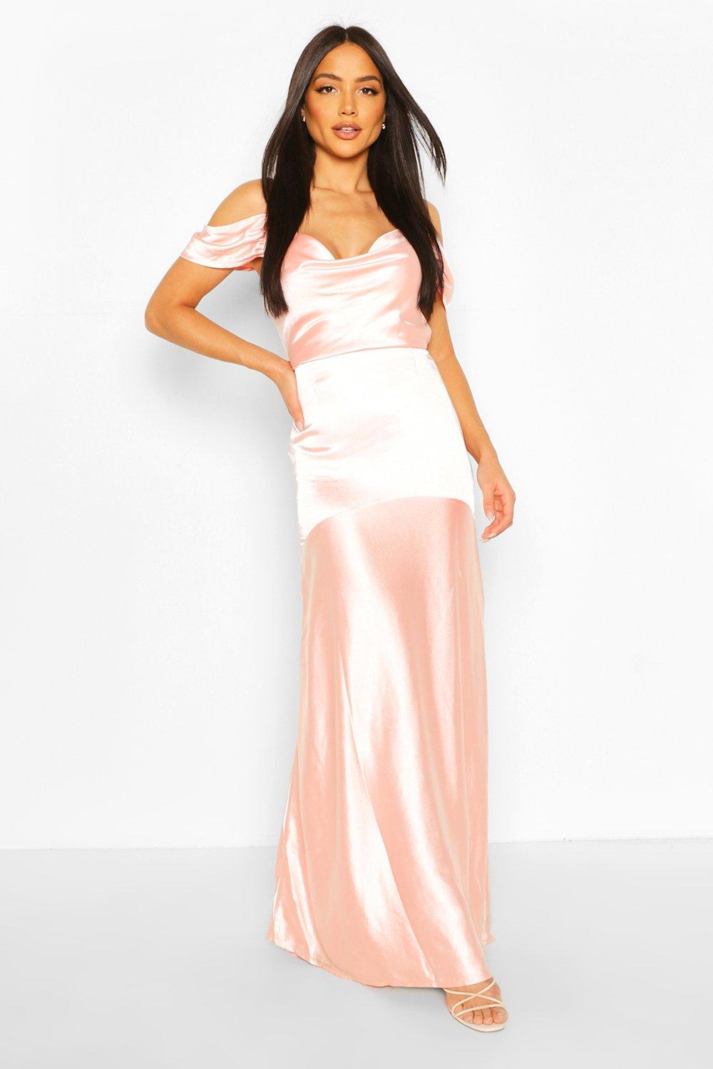 Vintage Evening Dresses and Formal Evening Gowns Womens Occasion Satin Cowl Peplum Hem Maxi Dress - Pink - 14 $25.00 AT vintagedancer.com