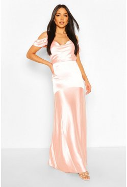 Blush Occasion Satin Cowl Peplum Hem Maxi Dress