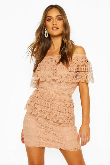 Apricot Boohoo Occasion Heavy Lace One Shoulder Mini
