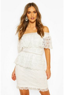 Ivory Boohoo Occasion Heavy Lace One Shoulder Mini