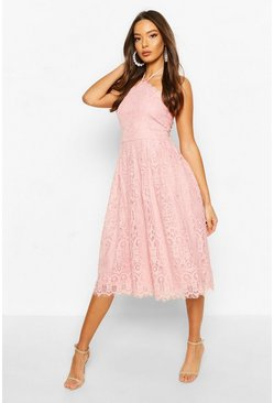 Robe Midi patineuse circulaire en dentelle grandes occasions, Rose doux
