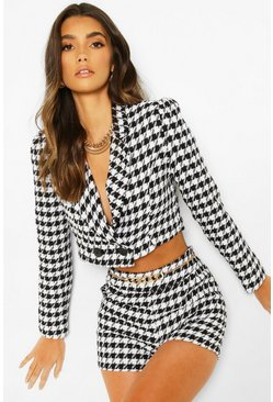 Black Dogtooth Check Crop Blazer