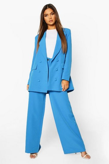Blue Wide Leg Tailored Trouser