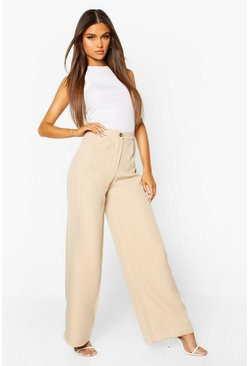 Stone Wide Leg Tailored Trouser