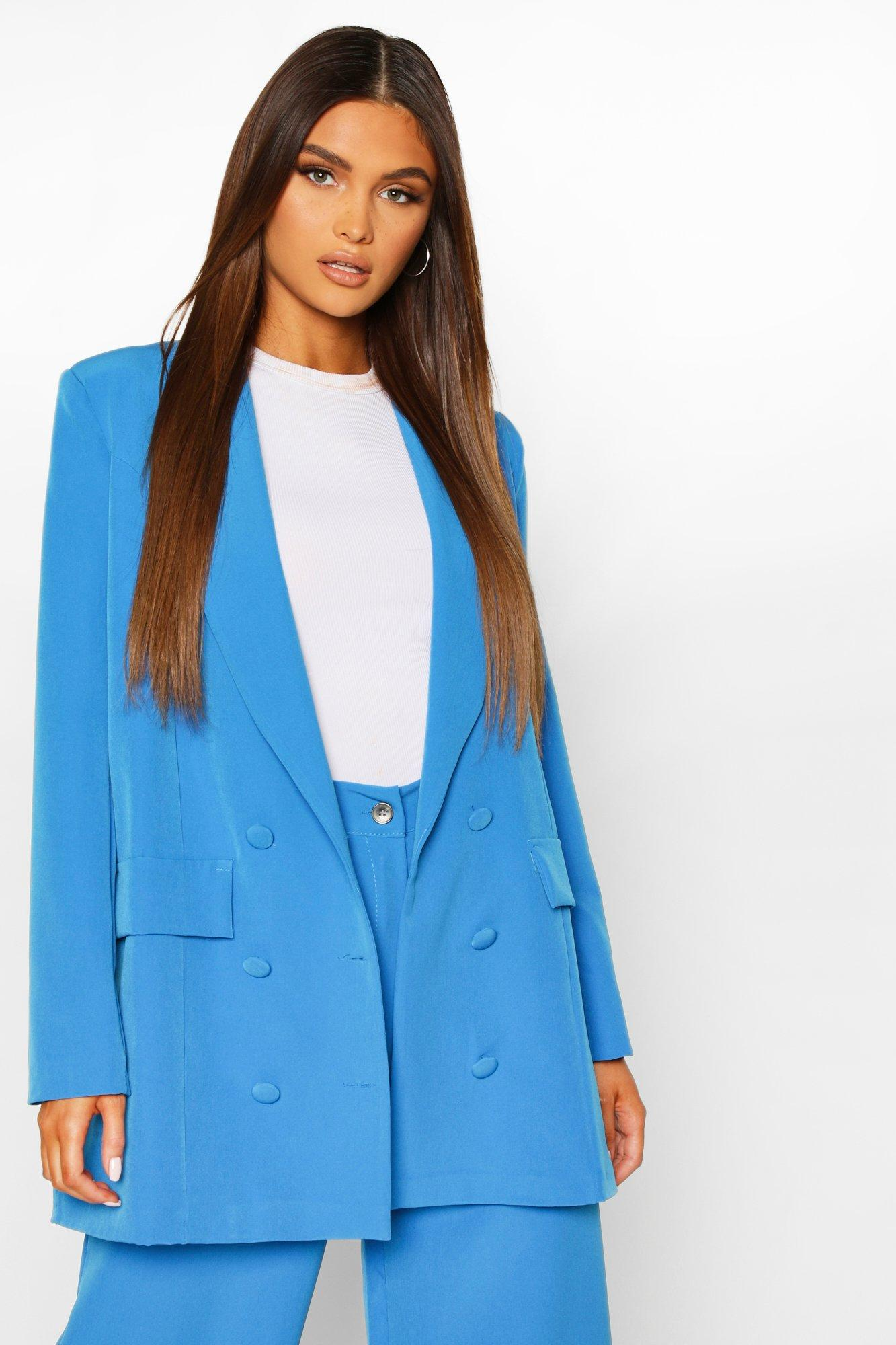 Womens Double Breasted Oversized Blazer - blue - 8