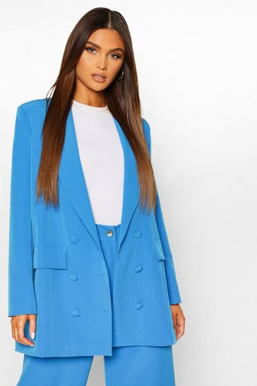 Blue Double Breasted Oversized Blazer