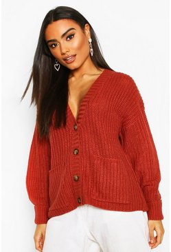 Fisherman Knit Button Through Cardigan, Rose