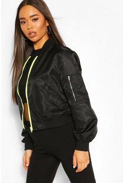Black Cropped Pocket Detail Bomber Jacket