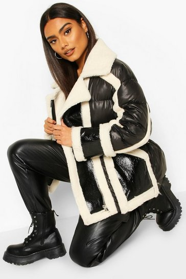Cream Teddy Fur Puffer Aviator Jacket