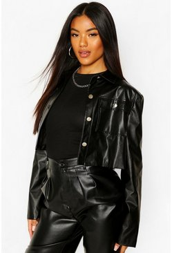 Black Cropped Pocket Leather Trucker