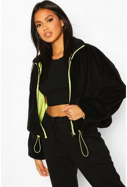 Black Neon Trim Teddy Faux Fur Bomber