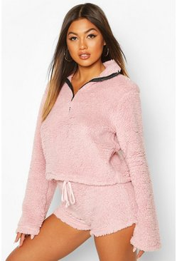 Pastel pink Borg Funnel Neck 1/2 Zip Sweat
