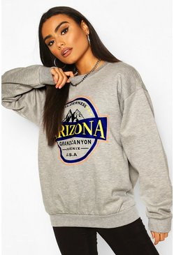 Grey marl Arizona Slogan Washed Oversized Sweat