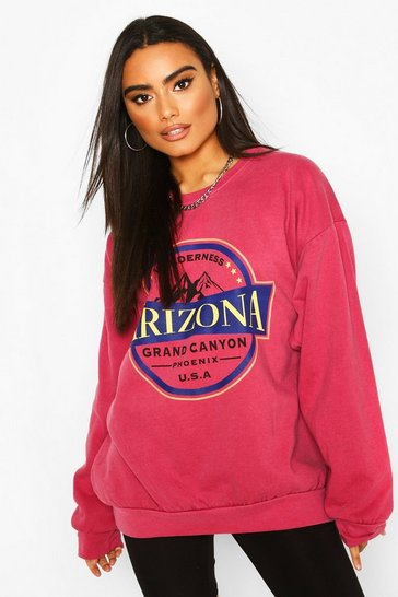 Raspberry Arizona Slogan Washed Oversized Sweat