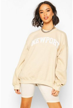 Sand Newport Slogan Washed Oversized Sweat