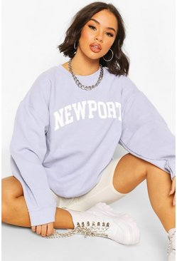 Sky Newport Slogan Washed Oversized Sweat