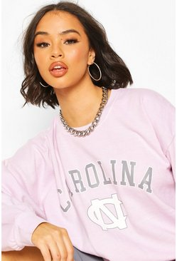 Light pink Carolina Slogan Washed Oversized Sweat