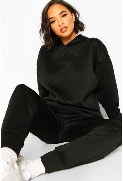 Black Quilted Oversized Hoody
