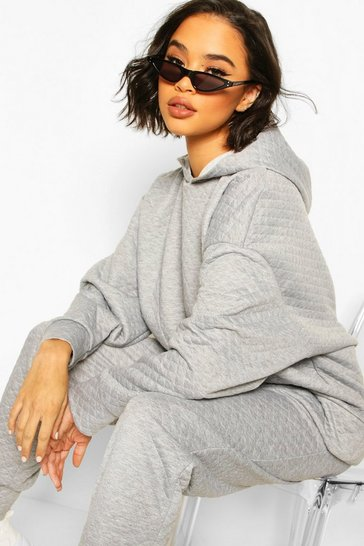 Grey marl Quilted Oversized Hoody