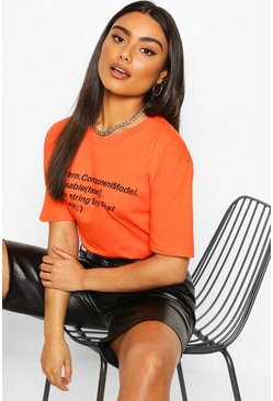 Orange Oversized Woman Print T-Shirt