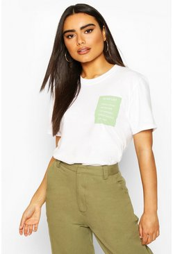 Oversized Tonal To Do List Slogan T-Shirt, White
