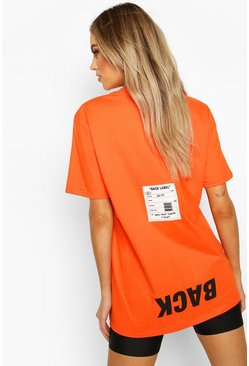 Orange Back Print Oversized T-Shirt