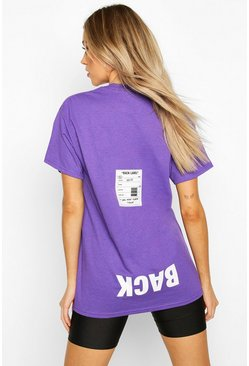 Purple Back Print Oversized T-Shirt
