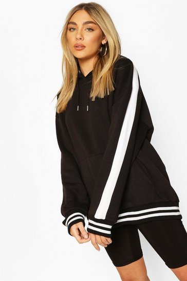 Black Oversized Side Panel Contrast Rib Hoody