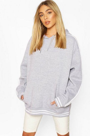 Grey marl Oversized Side Panel Contrast Rib Hoody