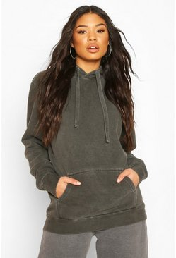 Charcoal Neon Washed Oversized Hoody