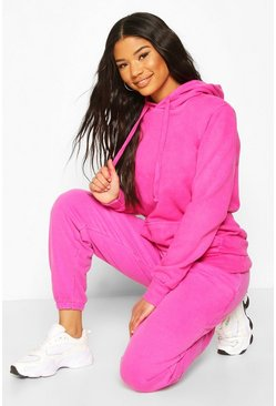 Pink Neon Washed Oversized Hoody