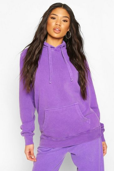 Purple Neon Washed Oversized Hoody