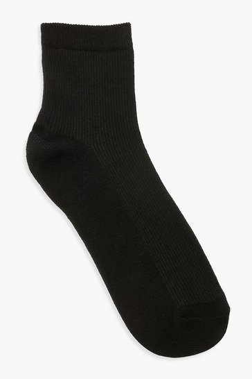 Black Plain Rib Sports Sock