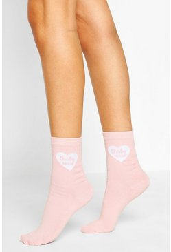 Pink Brides Bestie Slogan Socks