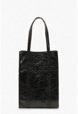 Black Textured PU Tote Bag