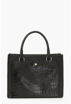 Black Croc & PU Detail Tote Bag