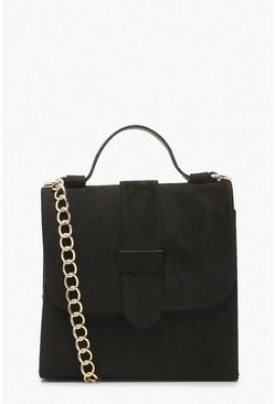 Black Suedette Tab Small Tote Bag