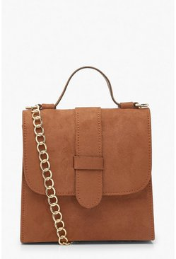 Tan Suedette Tab Small Tote Bag