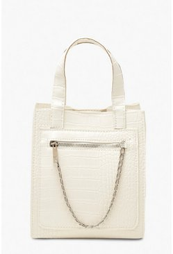 White Croc PU Chain Detail Tote Bag