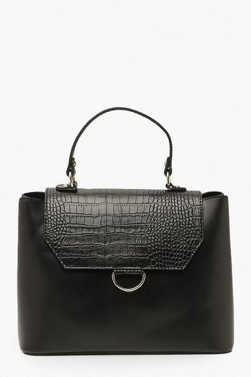 Black Croc & PU Ring Detail Tote Bag