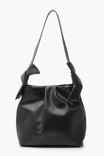 Black PU Slouch Tote Bag With Knot Detail