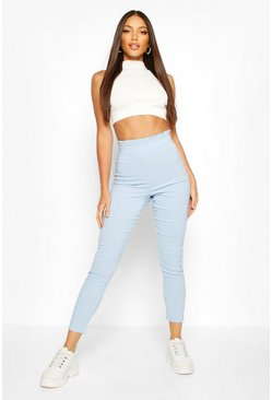 Blue Stretch Woven Frill Top Pants