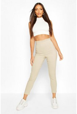 Stone Stretch Woven Frill Top Trouser